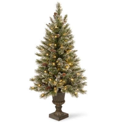 5 ft. Glittery Bristle Entrance Artificial Christmas Tree with Clear Lights