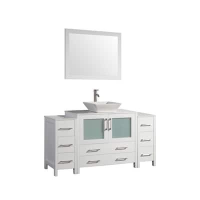 60 in. W x 18.5 in. D x 36 in. H Bathroom Vanity in White with Single Basin Vanity Top in White Ceramic and Mirror