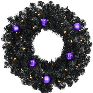 24 in. Pre-Lit Artificial Halloween Wreath with Spooky Black Tinsel and LED Lights