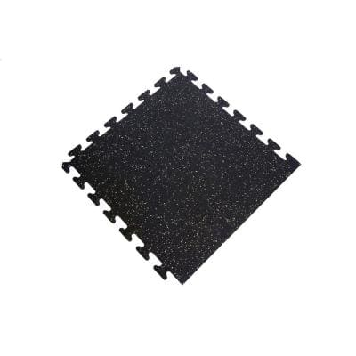 Black with Tan Speck 24 in. x 24 in. Finished Side Recycled Rubber Floor Tile (16 sq. ft. /case)