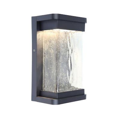 Black Outdoor Integrated LED Wall Mount Barn Light Sconce Lantern