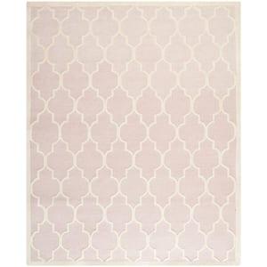 Cambridge Light Pink/Ivory 8 ft. x 10 ft. Border Geometric Trellis Area Rug