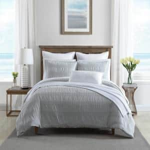 Hampton 3-Piece Gray Cotton Blend Full/Queen Comforter Set