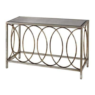 Rings Bakewell 47 in. Gold/Silver Standard Rectangle Glass Console Table with Mirrored Top