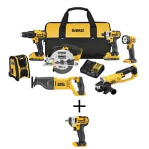 20-Volt MAX Lithium-Ion Cordless Drill/Driver Combo Kit (7-Tool) with 20-V 3/8 in. Impact Wrench w/Hog Ring (Tool-Only)