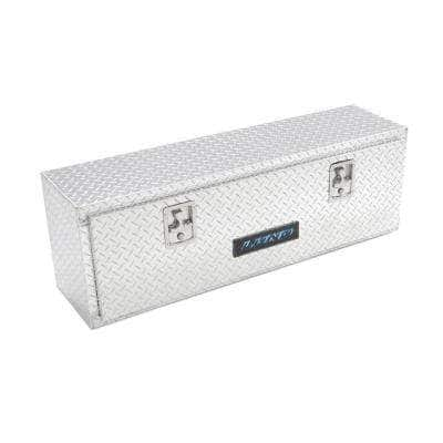 48 in Diamond Plate Aluminum Full Size Top Mount Truck Tool Box with mounting hardware and keys included, Silver