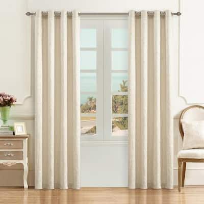 Cream Leaf Thermal Blackout Curtain - 54 in. W x 63 in. L