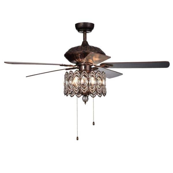 Warehouse Of Tiffany Mariposa 52 In Rustic Bronze Chandelier Ceiling Fan With Light Kit Cfl8324rb The Home Depot