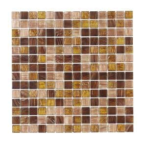 Verona Brown 11.875 in. x 11.875 in. Glossy Glass Mosaic Tile (0.979 sq. ft./Each)
