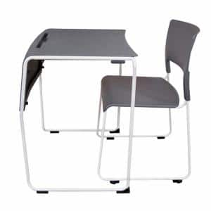 Lightweight Stackable Student Desk and Chair - 4 Pack- Slate Gray