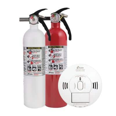 Home Fire Safety Kit, 3-Pack Hardwired Smoke/CO Detector with Voice Alarm and 2-Pack Fire Extinguisher