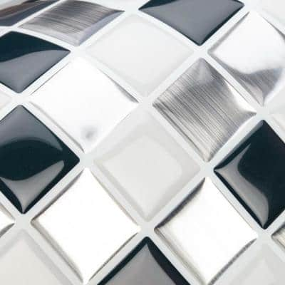 10.5 in x 10.5 in Metallic Checkerboard Tile Peel and Stick Backsplash