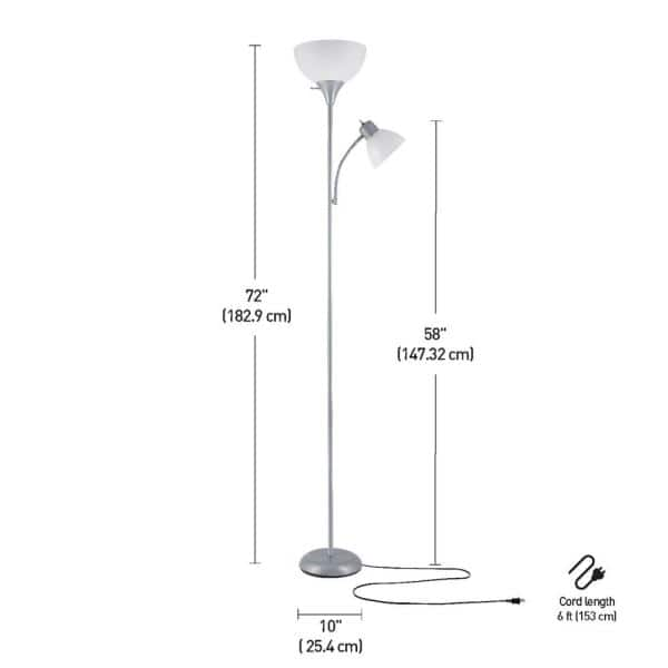 Globe Electric Delilah 72 In Silver Torchiere Floor Lamp With Adjustable Reading Light 67134 The Home Depot