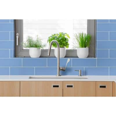 Royal Azure 4 in. x 12 in. x 8 mm Glossy Glass Tile (5 sq. ft. / case)