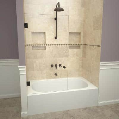 2000V Series 78 in. W x 60 in. H Frameless Pivot Tub Door in Oil Rubbed Bronze with Back-to-Back Knob and Clear Glass