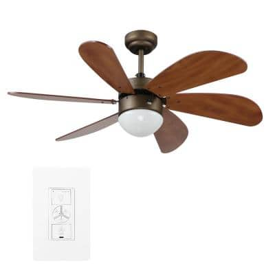 Minimus 38 in. Indoor Bronze Smart Ceiling Fan with Light Kit and Wall Control, Works with Alexa/Google Home/Siri