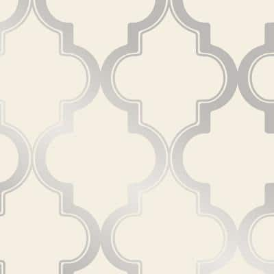 Marrakesh Cream & Silver Peel and Stick Wallpaper (Covers 28 sq. ft.)