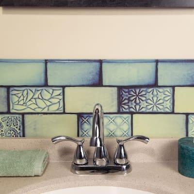 Antic Special Agua Marina 3 in. x 6 in. Ceramic Bullnose Wall Trim Subway Tile