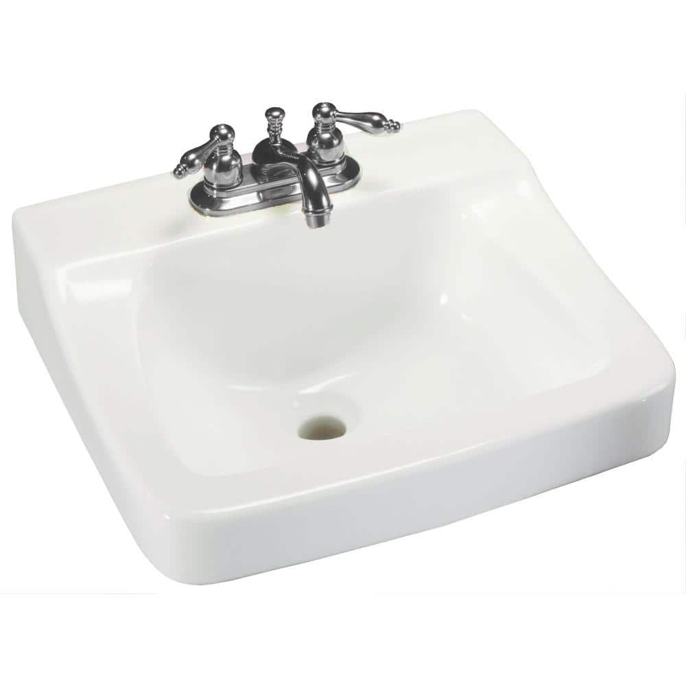 Glacier Bay Aragon Wall Mounted Bathroom Sink In White 13 0010 Ada The Home Depot