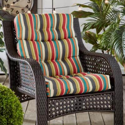 22 in. x 44 in. Outdoor High Back Dining Chair Sunset Stripe Cushion
