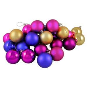 Matte and Shiny Vibrant Multi Shatterproof Christmas Ball Ornaments (24-Count)