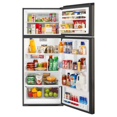 28 in. W 17.6 cu. ft. Top Freezer Refrigerator in Fingerprint Resistant Black Stainless