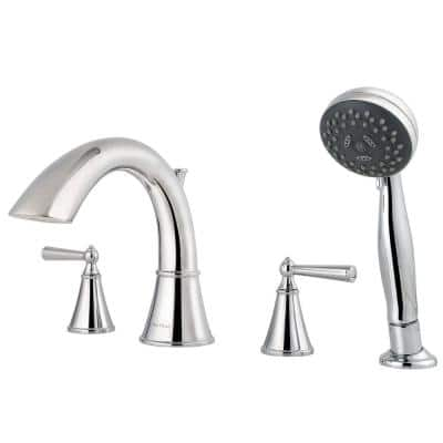 Saxton 2-Handle Deck Mount Roman Tub Faucet Trim with Handshower in Polished Chrome