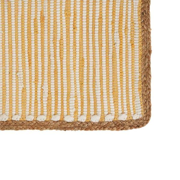 Lr Home Sunny Day 13 In X 19 In White Yellow Striped Jute Border Cotton Placemat Set Of 4 Speci04602snp1117 The Home Depot