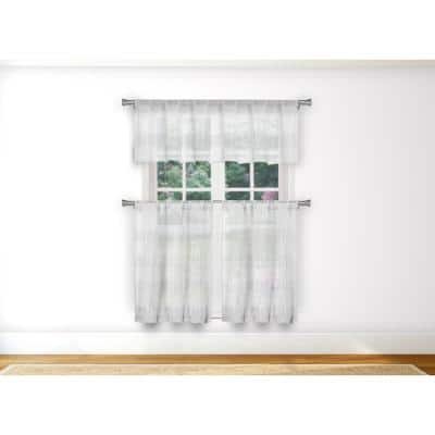 White Solid Rod Pocket Room Darkening Curtain - 15 in. W x 58 in. L (Set of 3)