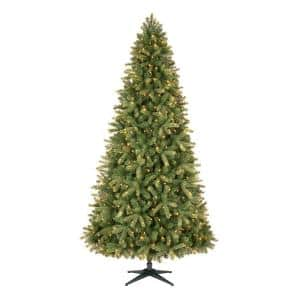 9 ft Manchester White Spruce LED Pre-Lit Artificial Christmas Tree with 600 SureBright Color Changing Mini Lights
