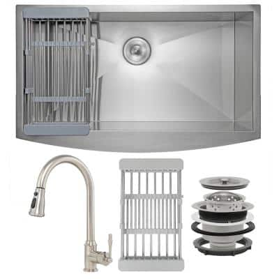 Handmade All-in-One Farmhouse Stainless Steel 33 in. x 22 in. Single Bowl Kitchen Sink w/Pull-Down Faucet, Drying Rack