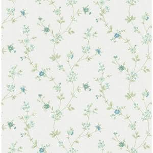 Sameulsson Light Blue Small Floral Trail Strippable Roll (Covers 56.4 sq. ft.)