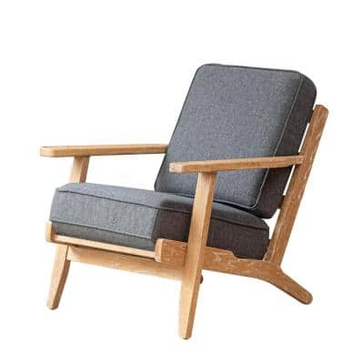 Oak Mid-Century Accent Natural Wood Outdoor Lounge Chair with Dark Gray Cushion