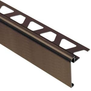 Rondec-Step Brushed Antique Bronze Anodized Aluminum 3/8 in. x 8 ft. 2-1/2 in. Metal Tile Edging Trim