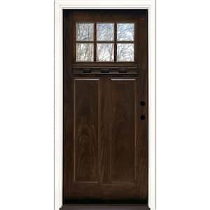 37.5 in. x 81.625 in. 6 Lite Craftsman Stained Chestnut Mahogany Left-Hand Inswing Fiberglass Prehung Front Door
