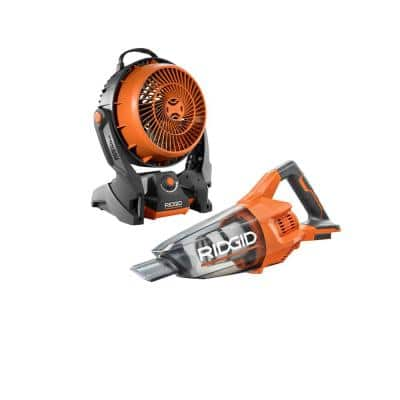 18V Cordless 2-Tool Combo Kit with Hand Vacuum with Nozzles and Extension Tube and 18V Hybrid Fan (Tools Only)