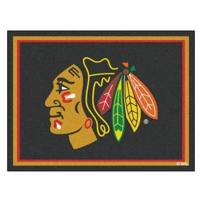 NHL Chicago Blackhawks Black 8 ft. x 10 ft. Indoor Area Rug