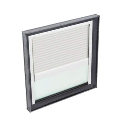 34-1/2 in. x 34-1/2 in. Fixed Curb Mount Skylight with Laminated Low-E3 Glass and White Manual Light Filtering Blind