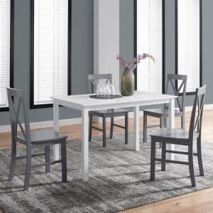 5-Piece White and Grey Solid Wood Farmhouse Dining Set
