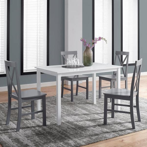 Grey Solid Wood Farmhouse Dining Set, White Wood Dining Room Sets