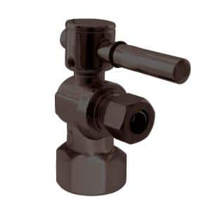 1/2 in. IPS x 3/8 in. O.D. Compression Outlet Angle Stop with 1/4-Turn Lever Handle, Oil Rubbed Bronze