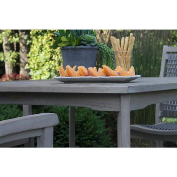 Grey Wash Eucalyptus And Driftwood Grey 5 Piece Wicker Square Outdoor Dining Set Set Gw42445gr The Home Depot