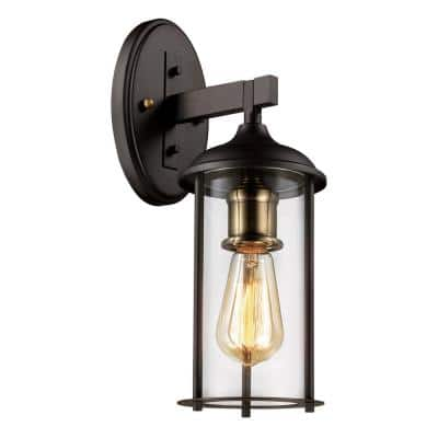 Blues 15.5 in. 1-Light Rubbed Oil Bronze and Antique Gold Outdoor Wall Lantern Sconce