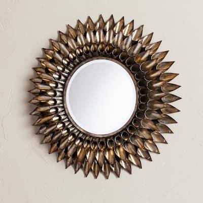 Medium Round Galvanized Weathered Silver Gothic Mirror (24.5 in. H x 24.5 in. W)