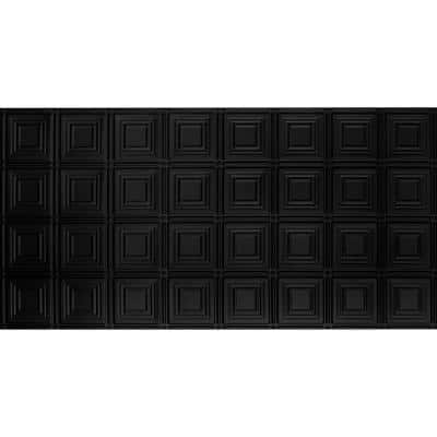 Dimensions 2 ft. x 4 ft. Glue Up Tin Ceiling Tile in Matte Black