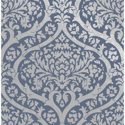 Sandringham Blue Damask Blue Wallpaper Sample