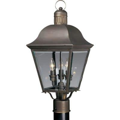 Andover Collection 3-Light Antique Bronze Clear Beveled Glass Farmhouse Outdoor Post Lantern Light