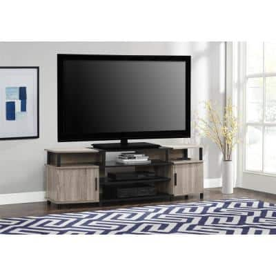 Windsor 63 in. Weathered Oak Particle Board TV Stand Fits TVs Up to 70 in. with Storage Doors