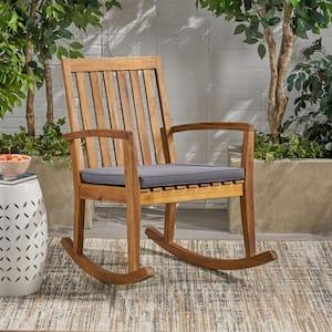 Montrose Teak Brown Acacia Wood Outdoor Rocking Chair with Dark Grey Cushion