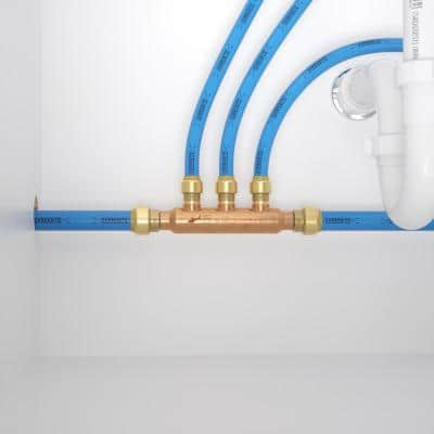3/4 in. x 1/2 in. Push-to-Connect Copper 3-Port Open Manifold Fitting